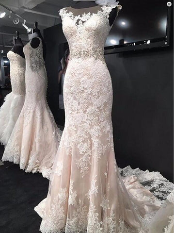 Elegant Bateau Sleeveless Court Train Mermaid Lace Wedding Dress