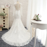 Full Lace Mermaid Wedding Dress,Long Sleeves Lace Wedding Dress