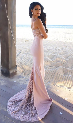 Gorgeous Spaghetti Mermaid Lace Long Bridesmaid Dress with Sweep Train