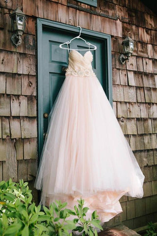 Gorgeous Romantic Strapless Long Tulle Ball Gown Wedding Dress