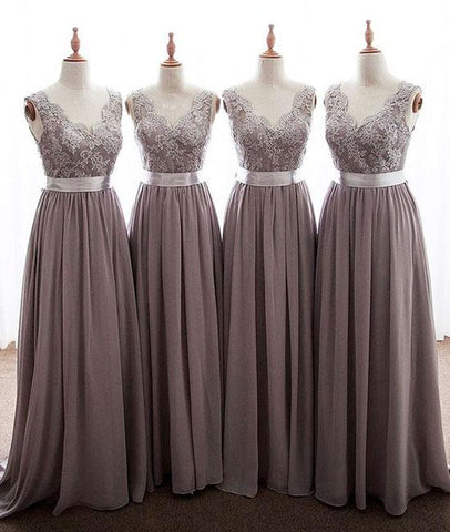 Grey Long Lace Bridesmaid Dress Chiffon Dress,Cap Sleeves Grey Lace Wedding Party Dress