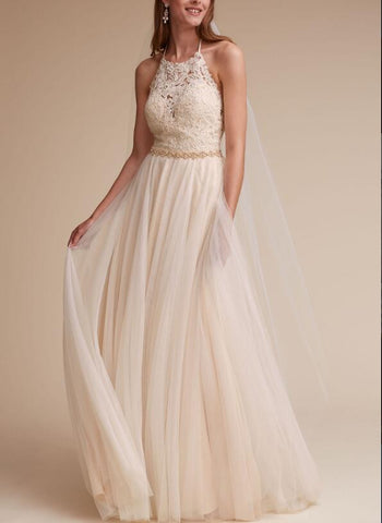 Halter Neck A Line Tulle Backless Wedding Dress,Long Tulle Backless