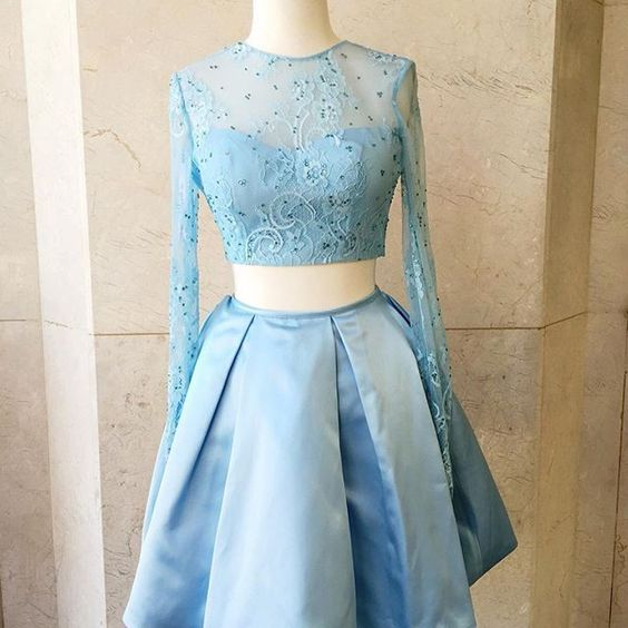 c7d4f1f67e3 Two-Piece A Line Short Baby Blue Lace Long Sleeves Homecoming Dresses