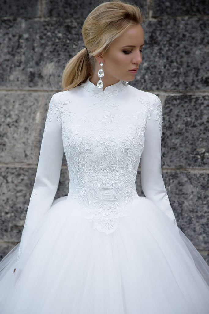 6a094999c29d2 High Neck Ball Gown Long Tulle Muslim Wedding Dress with Long Sleeves –  FashionDressGallery