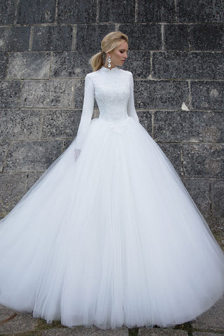 f2d63a913 High Neck Ball Gown Long Tulle Muslim Wedding Dress with Long Sleeves