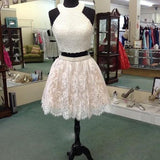 XH49 White lace two pieces pearl beading short prom dresses,short lace homecoming dress with pearls