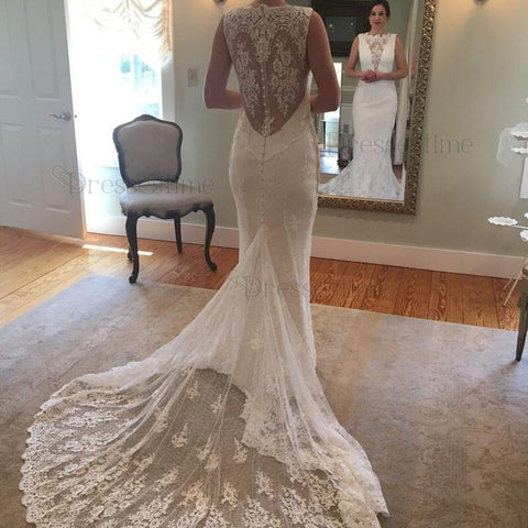 High Low Long Sleeve Lace Wedding Dress