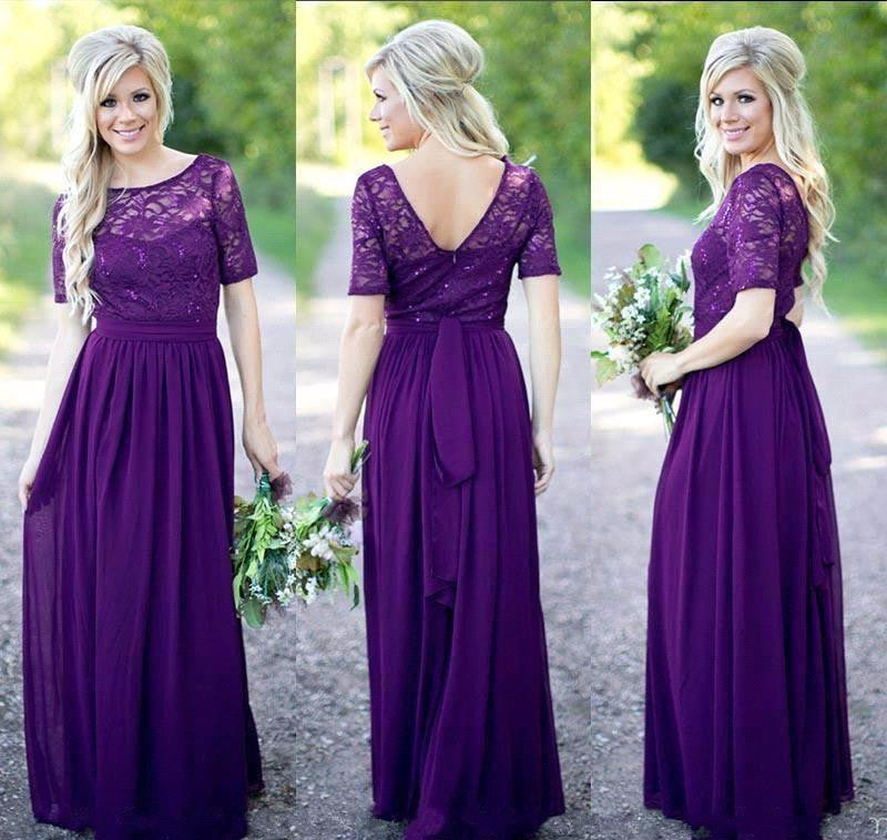 Lace Chiffon Purple Bridesmaid Dresses With Short Sleeves