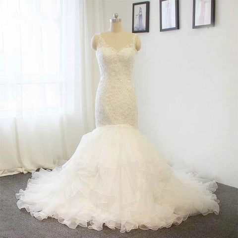 Lace spaghetti strap organza lace mermaid wedding dress,V-neck Lace Mermaid Bridal Dress