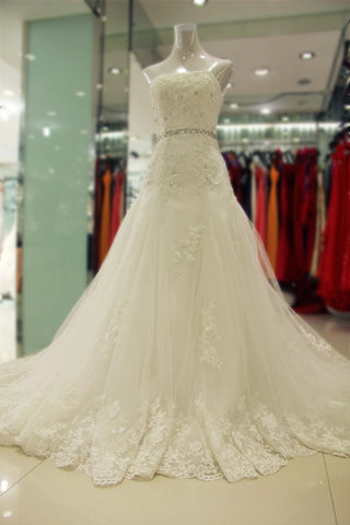 A-line Lace Beading Sash Bridal Dress,Sweetheart Simple Lace and Tulle Bridal Dresses