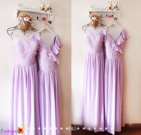 Lavender Bridesmaid Dress,Lilac Prom Evening Dress,Long Chiffon Lavender Wedding Party Dress