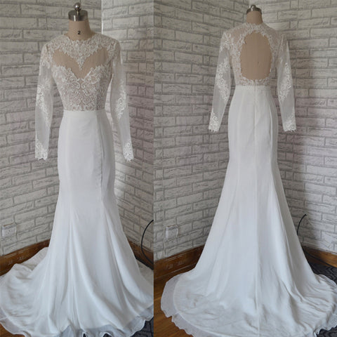 Long Lace White Backless Mermaid Long Sleeves Wedding Dress,Bridal Gown