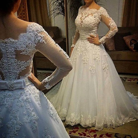 Long Sleeve Lace Wedding Dress Ball Gown Bridal Gown Luxurious Wedding Dress for Brides