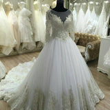 Long Sleeves Lace Wedding Dress,Ball Gown Lace Long Sleeve Bridal Dress