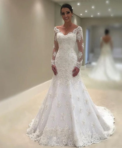 Long Sleeves Lace Wedding Dress,V-Back Bridal Dress,Mermaid Lace Wedding Gown
