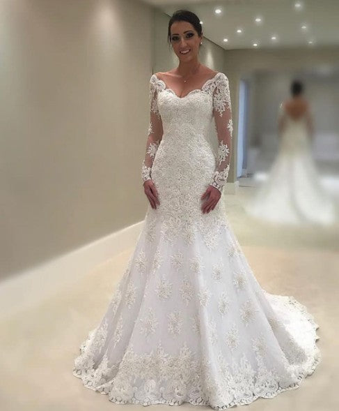 Lace Wedding Dress With Sleeves.Long Sleeves Lace Wedding Dress V Back Bridal Dress Mermaid Lace Wedding Gown