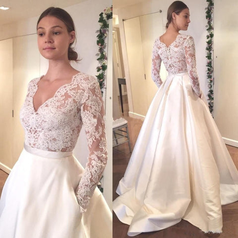 Long Satin Elegant V-Neck Lace Long Sleeve Wedding Dress