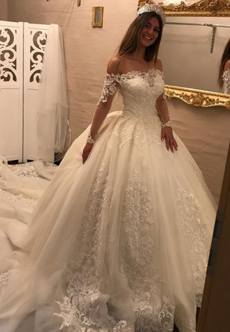 Lace Ball Gowns Princess Luxurious Long Sleeves Wedding Dresses with Boat Beck