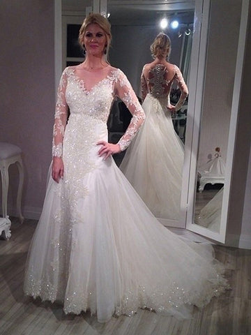 Luxurious Sparkly A-line Sheer Neck Long Sleeve Court Train Lace Tulle Wedding Dresses