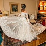Luxury A-Line Wedding Dress - Off-the-Shoulder Chapel Train Tulle Lace