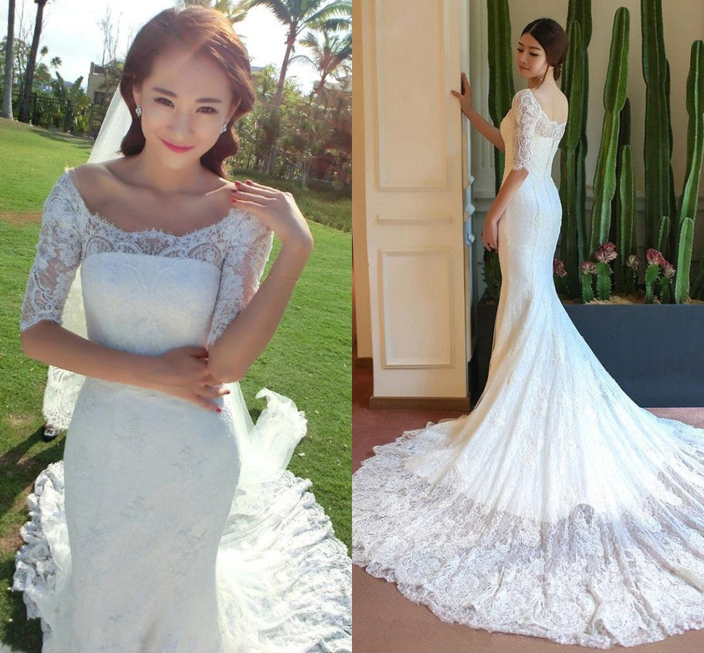c32248f692ca Boat Neck Mermaid Long Sleeve Lace Chapel Train Wedding Dress ...