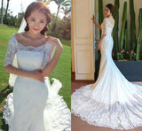 Boat Neck  Mermaid Long Sleeve Lace Chapel Train Wedding Dress