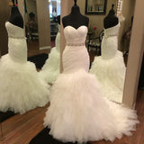 Sweetheart Pleat Tiers Sweep Train Soft Tulle Mermaid Bride Wedding Dress with Lace Up Back
