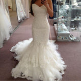 Sweetheart Tulle Court Train Appliques Sequins Modern Mermaid Wedding Dress