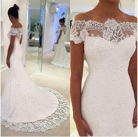 Off the Shoulder Appliques Lace Mermaid Wedding Dresses with Short Sleeves