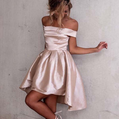 Off Shoulder A Line High Low Short Pink Cheap Homecoming Dress