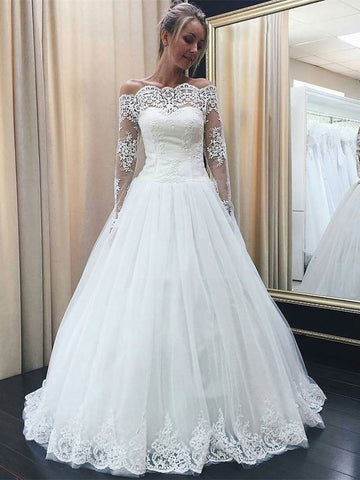 Simple Off the Shoulder A Line Long Sleeves Lace Appliqued Wedding Dresses