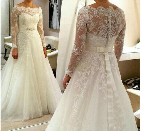 Plus Size A-line Long Tulle with Beaded Belt Appliques Long Sleeves Wedding Dress