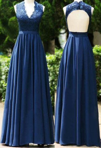 Pretty V Neck Long Pleated Open Back Dark Blue Bridesmaid Dress with Lace
