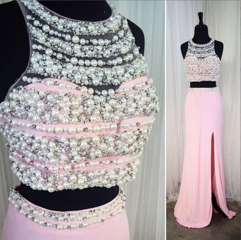 XP2 Two Piece Prom Dress,pink mermaid prom dresses,two piece prom gowns with pearl beaded