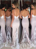 Mermaid Spaghetti Straps Sweep Train Backless Lanvender Bridesmaid Dress with Lace