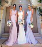 Sexy Mermaid Pink Wedding Party Formal Gown,Long Mermaid Bridesmaid Dress