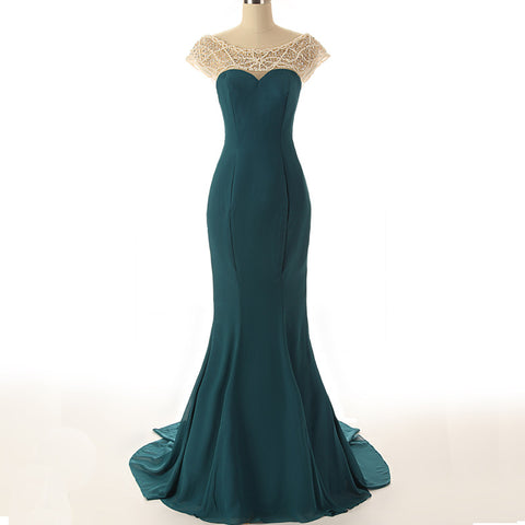 R2 Sexy mermaid dark green prom dress with pearls
