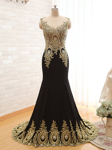 R3 Black Mermaid Gold Lace Prom Dress,mermaid black evening gown
