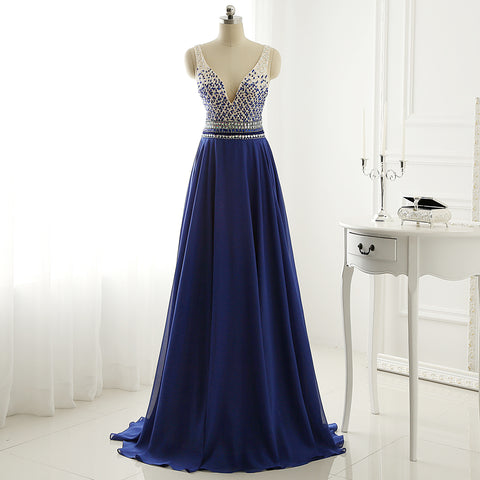 R4 A Line Long Chiffon Royal Blue Crystal Prom Dress Eevening Gown
