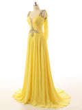 R5 Backless A Line Yellow Beading Prom Dress