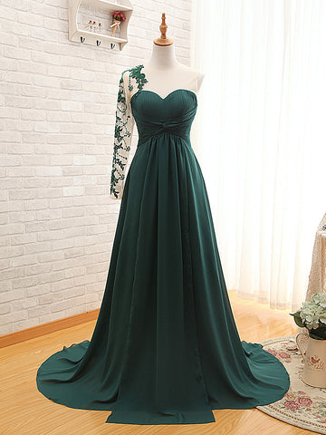 R6 One Shoulder Long Sleeve A Line Dark Green Prom Dress