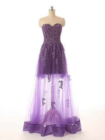 R7 Sweetheart Sexy A Line Purple Lace Prom Dress