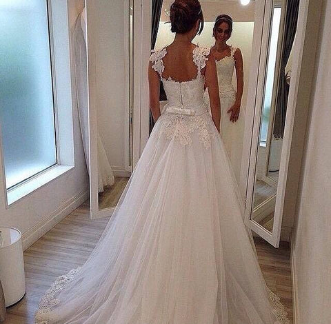 Romantic Tulle Lace A-line Bridal Dress Formal Elegant Long Lace Tulle Wedding Dresses