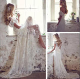 Sexy Backless Off Shoulder A Line Full Lace Wedding Dress,Lace Beach Wedding Dress