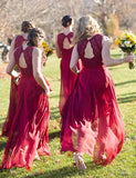 Sexy Red Wedding Party Dress,Lace Bridesmaid Dress,Red Chiffon Bridesmaid Dresses