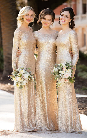Sheath A-Line Scoop Neck Long Sleeves Floor-Length Sequined Bridesmaid Dress