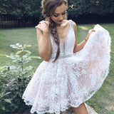 Short V Neck Pink Lace Homecoming Dress,White Lace Formal Cocktail Dress