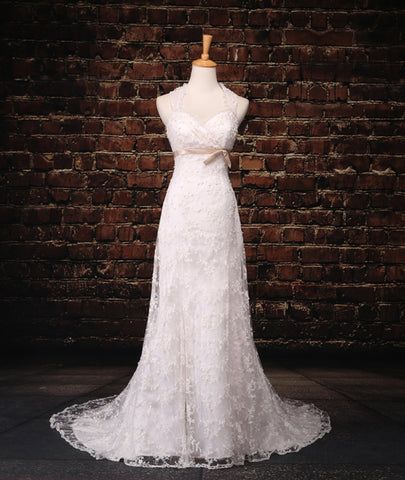 Simple A-line White Lace Mermaid Wedding Dress,Elegant Lace 2018 Wedding Dress