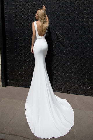 Spaghetti Straps Long Sexy Mermaid White Beach Wedding Dress