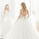 Spaghetti Straps Sexy V Neck Ball Gown White Tulle Beading Wedding Dress